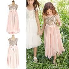 2015 blush flower girls dresses for weddings gold sequins hand