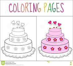 Cake Decorating Books Free by Coloring Book Page Cake Sketch And Color Version Coloring For