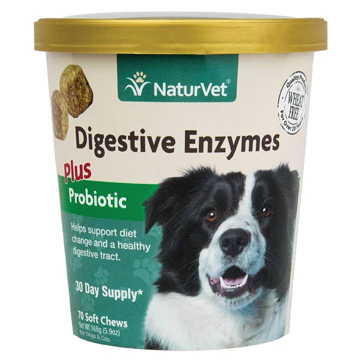NaturVet Digestive Enzymes Plus Probiotics for Dogs - 70 Soft Chew