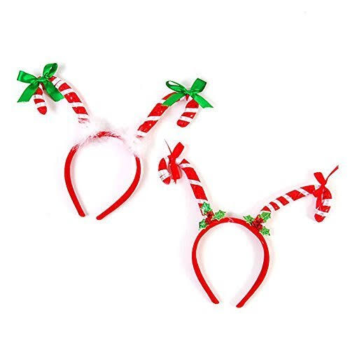 Flomo 2 Pack - Candy Cane Headbands - Festive Holiday Party Accessories - One Size Fits All, Ages 3 and Up