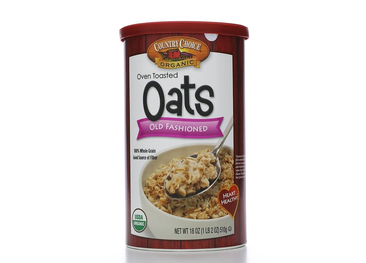 Country Choice Organic Old Fashioned Oats, Oven Toasted - 18 oz canister