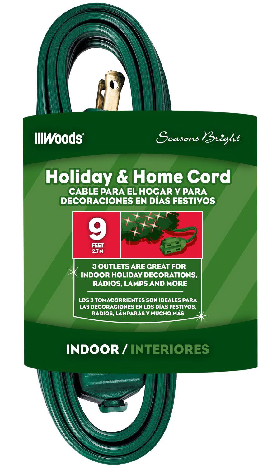 Woods 12601G 3-Outlet Indoor Extension Cords - Green, 9'