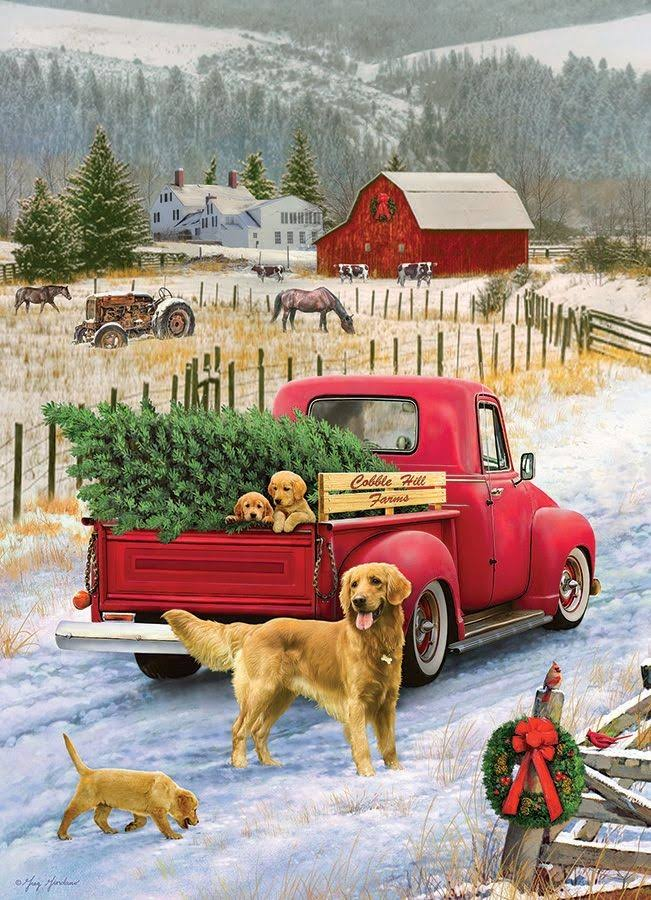 Cobble Hill 1000 Piece Jigsaw Puzzle Christmas on The Farm