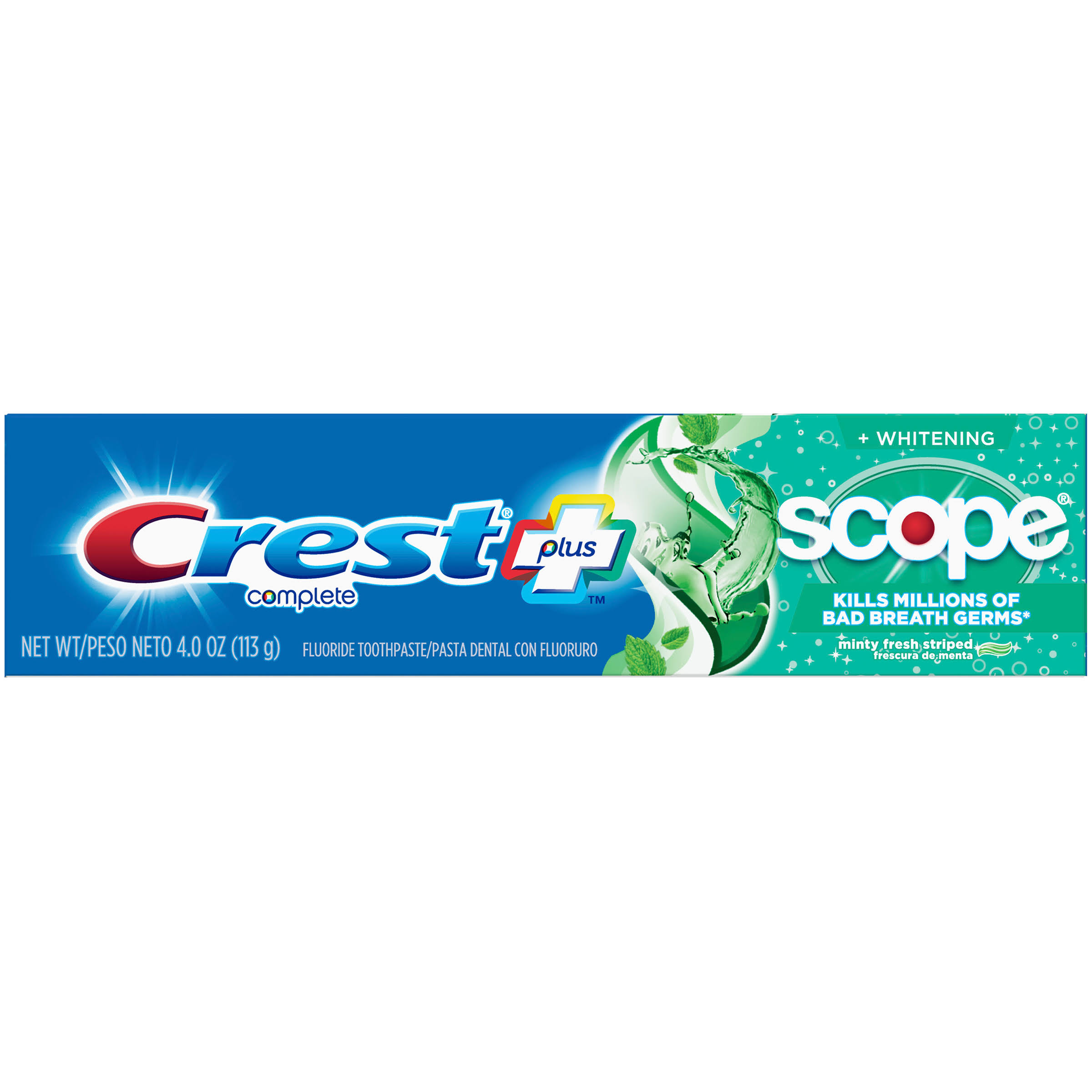 Crest + Scope Complete Whitening Toothpaste, Minty Fresh, 4.0 oz