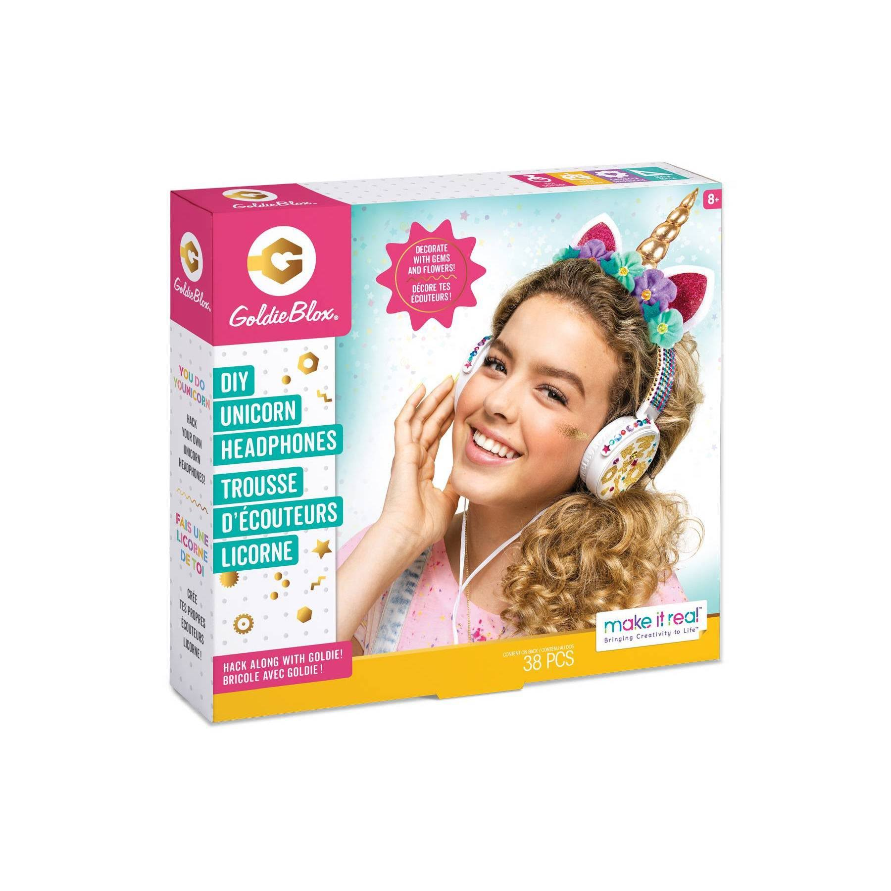GoldieBlox DIY Unicorn Headphones Kit, Multicolor