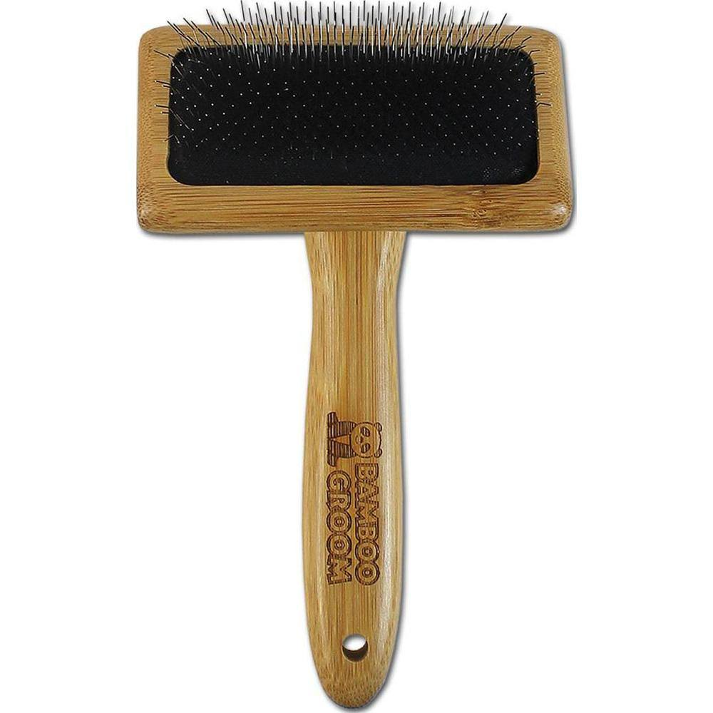 Paws/alcott Bamboo Slicker Brush with Stainless Steel Pins-Medium