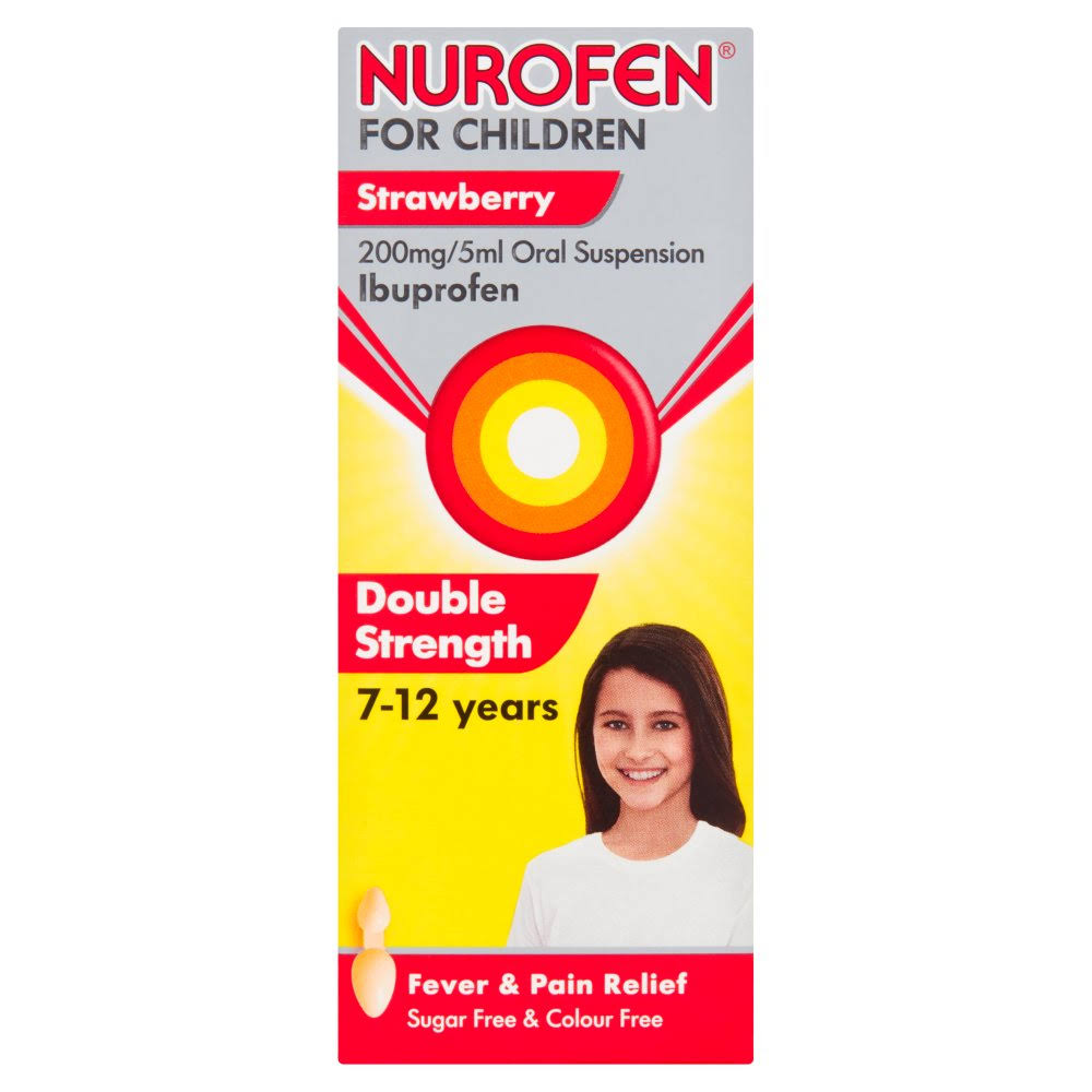 Nurofen For Children Double Strength Oral Suspension - Strawberry, 200mg/5ml, 7-12 Years, 100ml