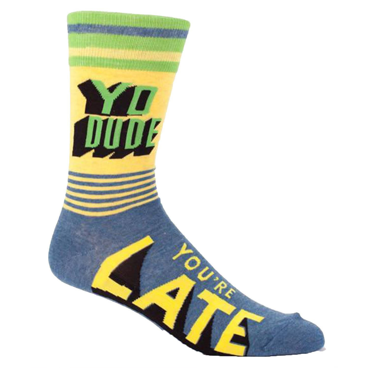 Blue Q Men's Yo Dude, You're Late Socks