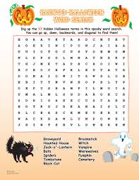 Haunted Halloween Crossword by Halloween Word Search Zoobookoo