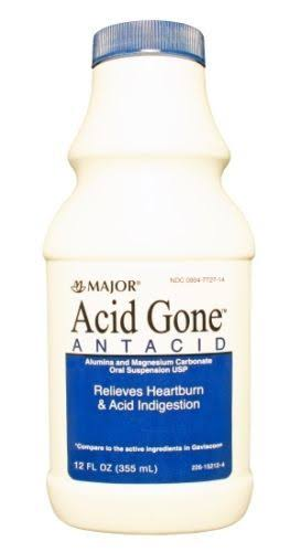 Major Acid Gone Antacid Liquid Relieves Heartburn and Indigestion - 12oz