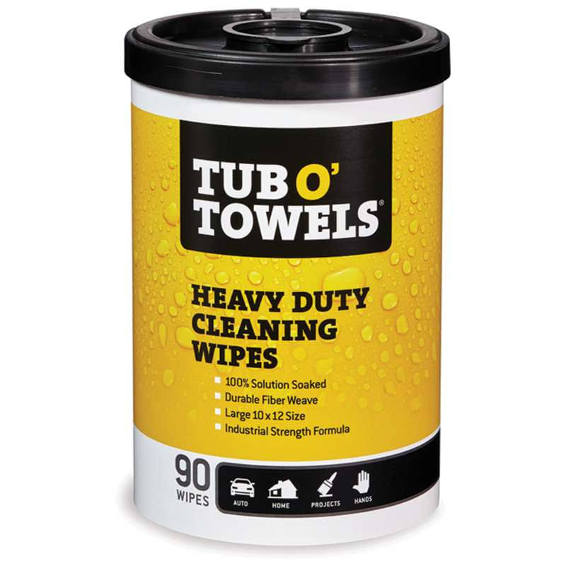 "Tub O Towels Heavy-Duty Multi-Surface Cleaning Wipes - 90 Count, 10"" x 12"""