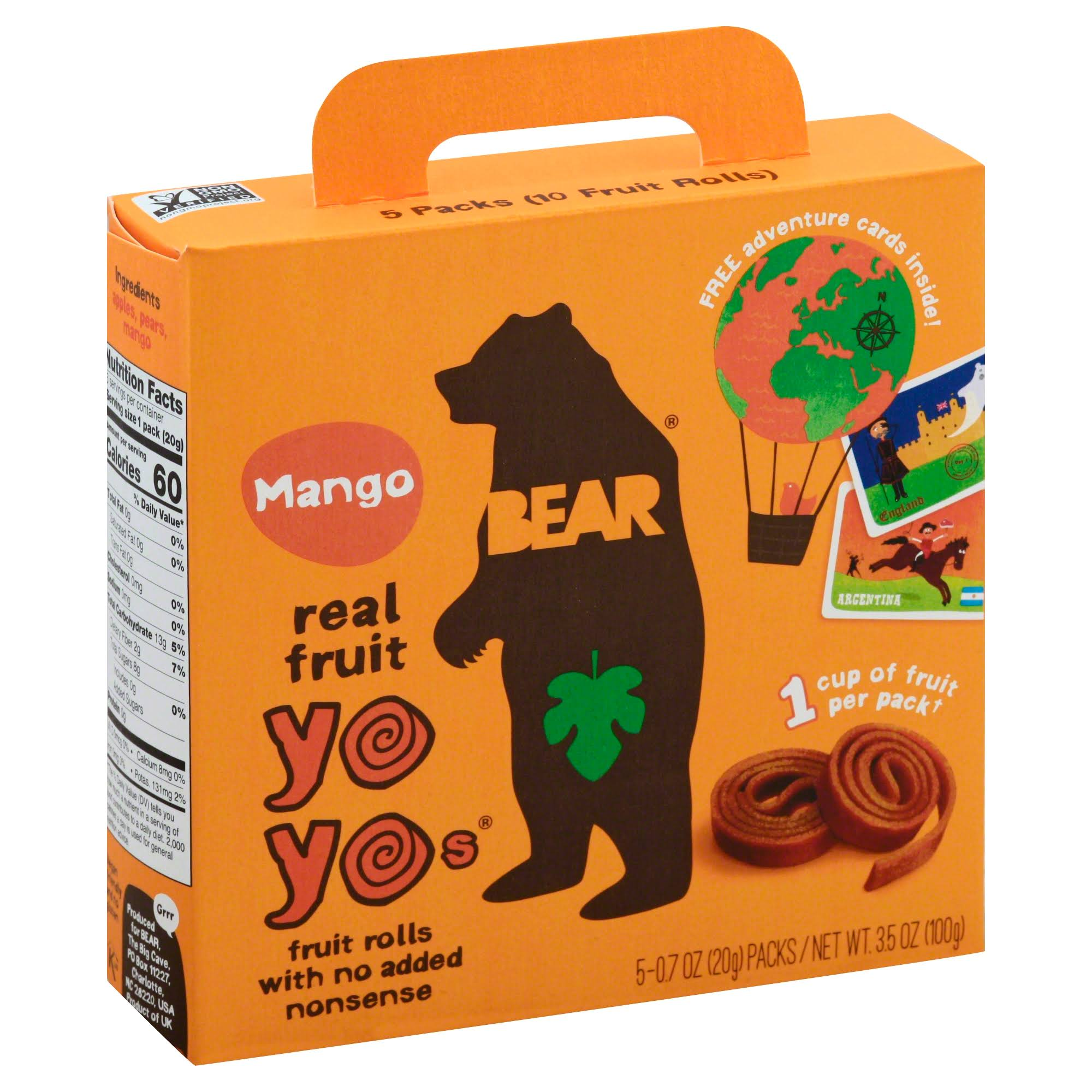 Bear Yo Yos, Real Fruit, Mango - 5 pack, 0.7 oz packs