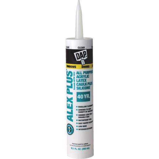 Dap 18156 Clear Acrylic Latex Caulk with Silicone - Clear
