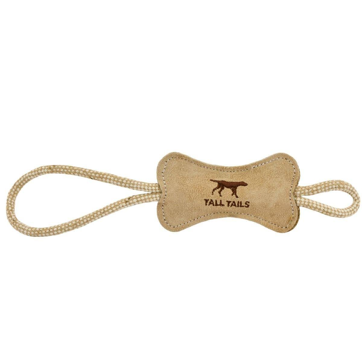 Tall Tails 88215939 Leather Dog Bone Tug Toy Natural - 12 in.