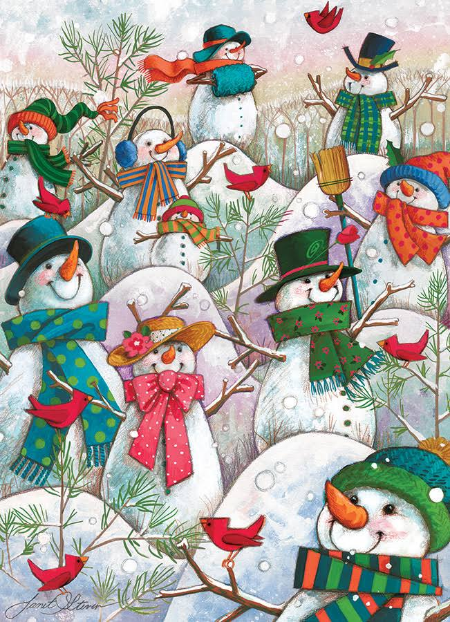 Hill of A Lot of Snowmen - 500pc Jigsaw Puzzle by Cobble Hill