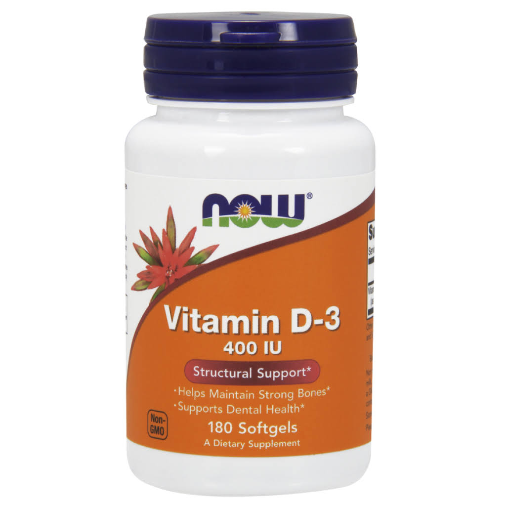 NOW Vitamin D-3 Structural Support 400 IU - 180 softgels