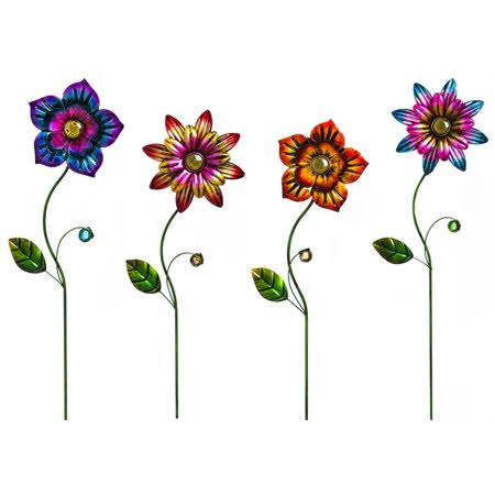 Evergreen Metallic Flowers Metal Garden Stake Set - 4pcs Set