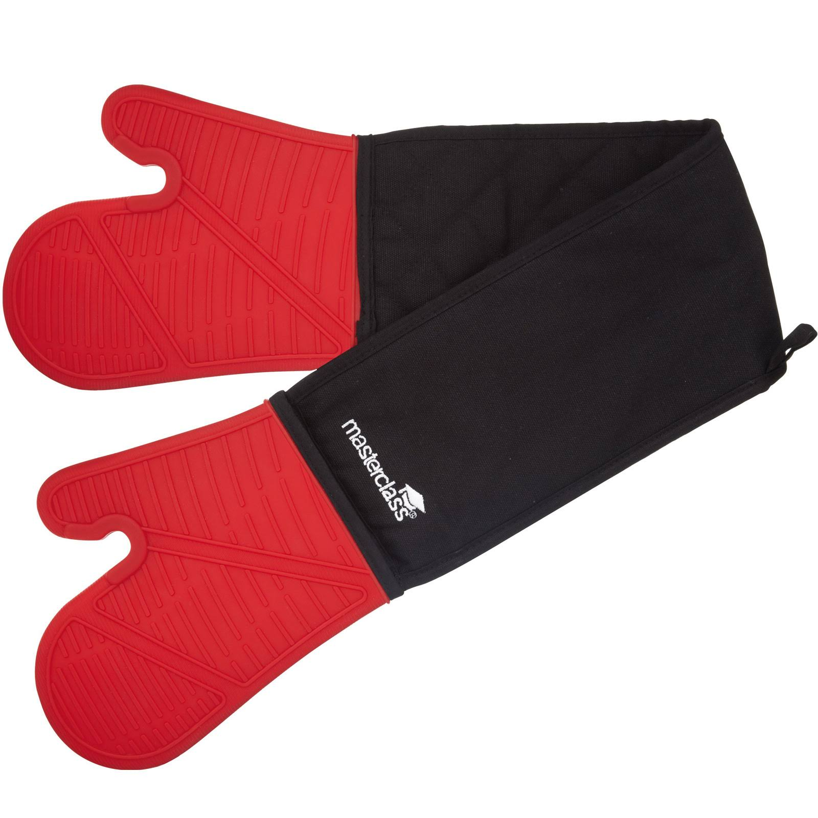 Master Class Seamless Silicone Double Oven Glove - Red