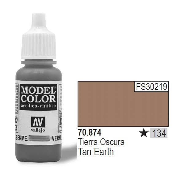 Vallejo Model Color Acrylic Paint - Tan Earth, 17ml