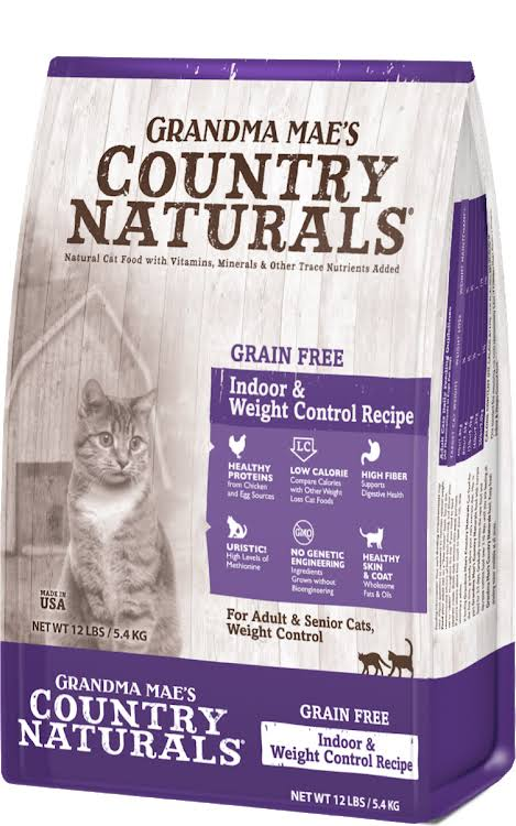 Grandma Mae S Country Nat - Country Naturals Grain Free Weight Control/Hairbal 12 lb