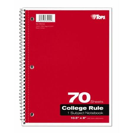 Tops 65022 8 x 10.5 in. 1-Subject Notebook College Rule Assorted Colors - 70 Sheets