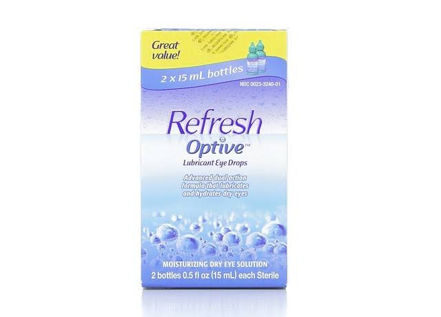 Refresh Optive Lubricant Eye Drops - Long-Lasting Hydration, Twin Pack, 2 x 15ml