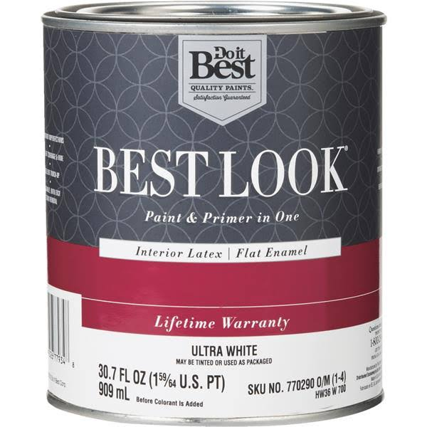 Do it Best Look Interior Flat Paint and Primer in One Wall Enamel - Ultra White