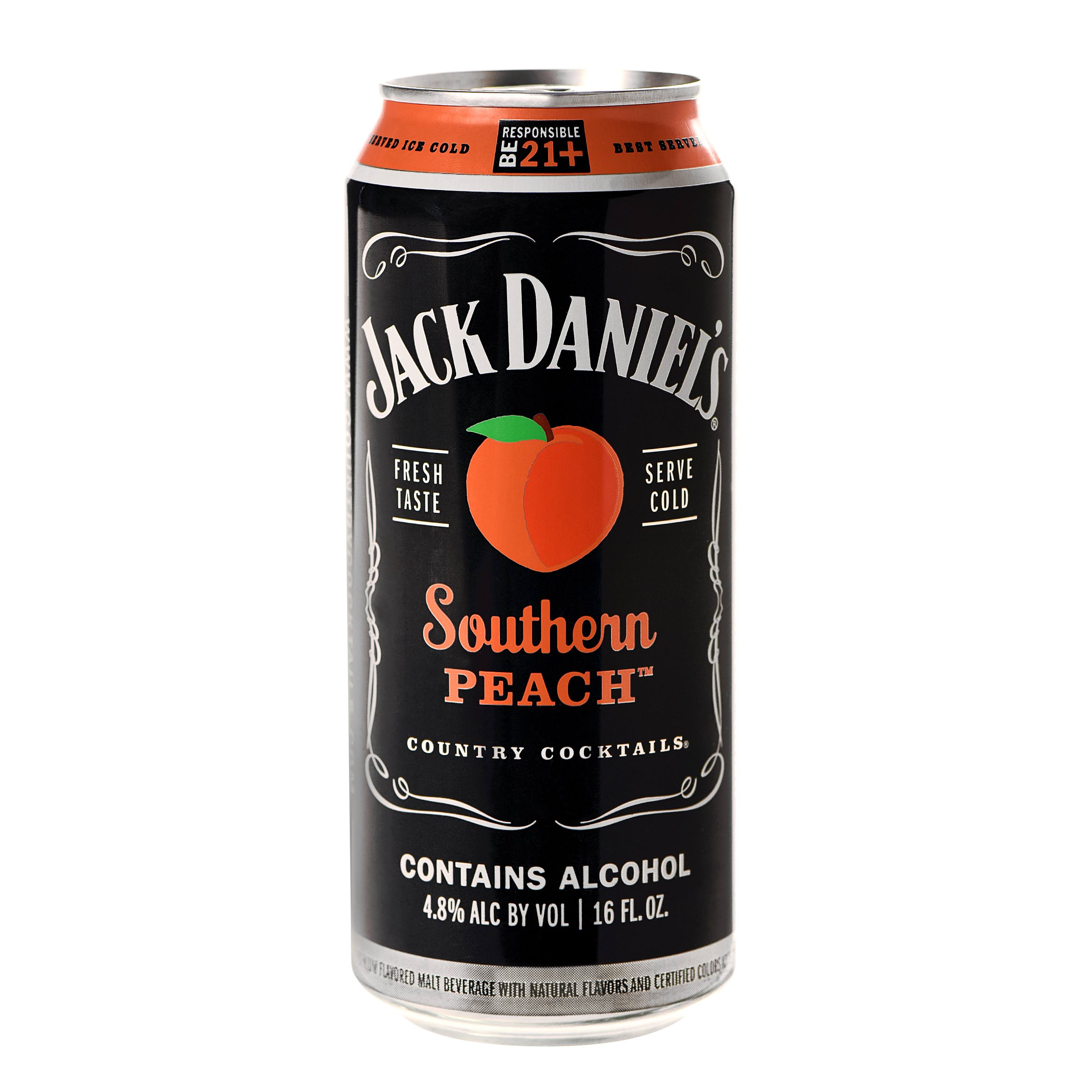 Jack Daniels Country Cocktails Southern Peach Beer, Flavored Malt Beverage - 16 oz