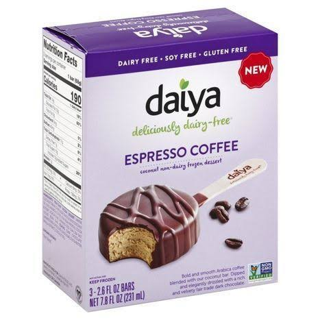 Daiya Frozen Dessert, Espresso Coffee, Bar - 3 pack, 2.6 fl oz bars