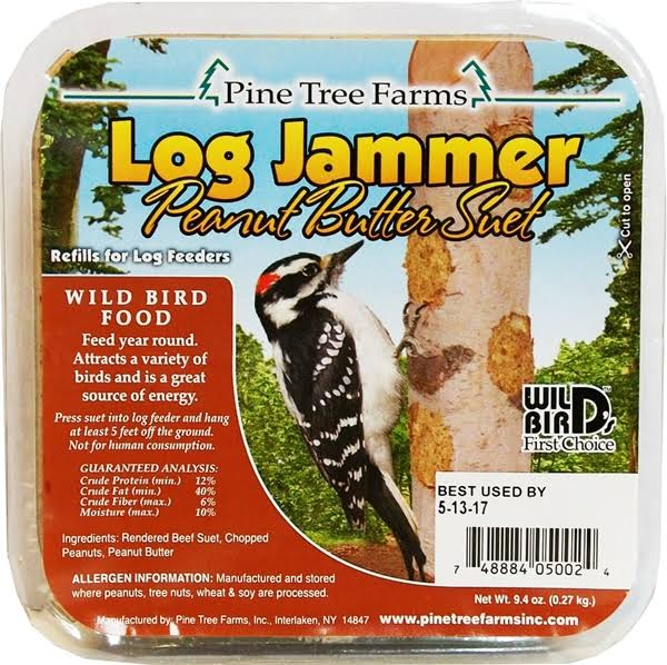 Pine Tree Farms 5002 Log Jammer Woodpecker Peanut Suet Plug - 3 plugs/pack , 9.4oz