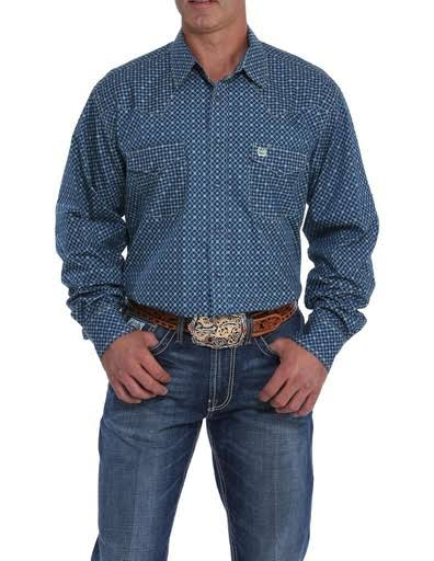 Cinch Western Shirt Mens Long Sleeve Snap Geo MTW1682014 Navy