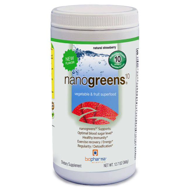 Biopharma Scientific Nanogreens10 Supplement - Strawberry, 12.7oz