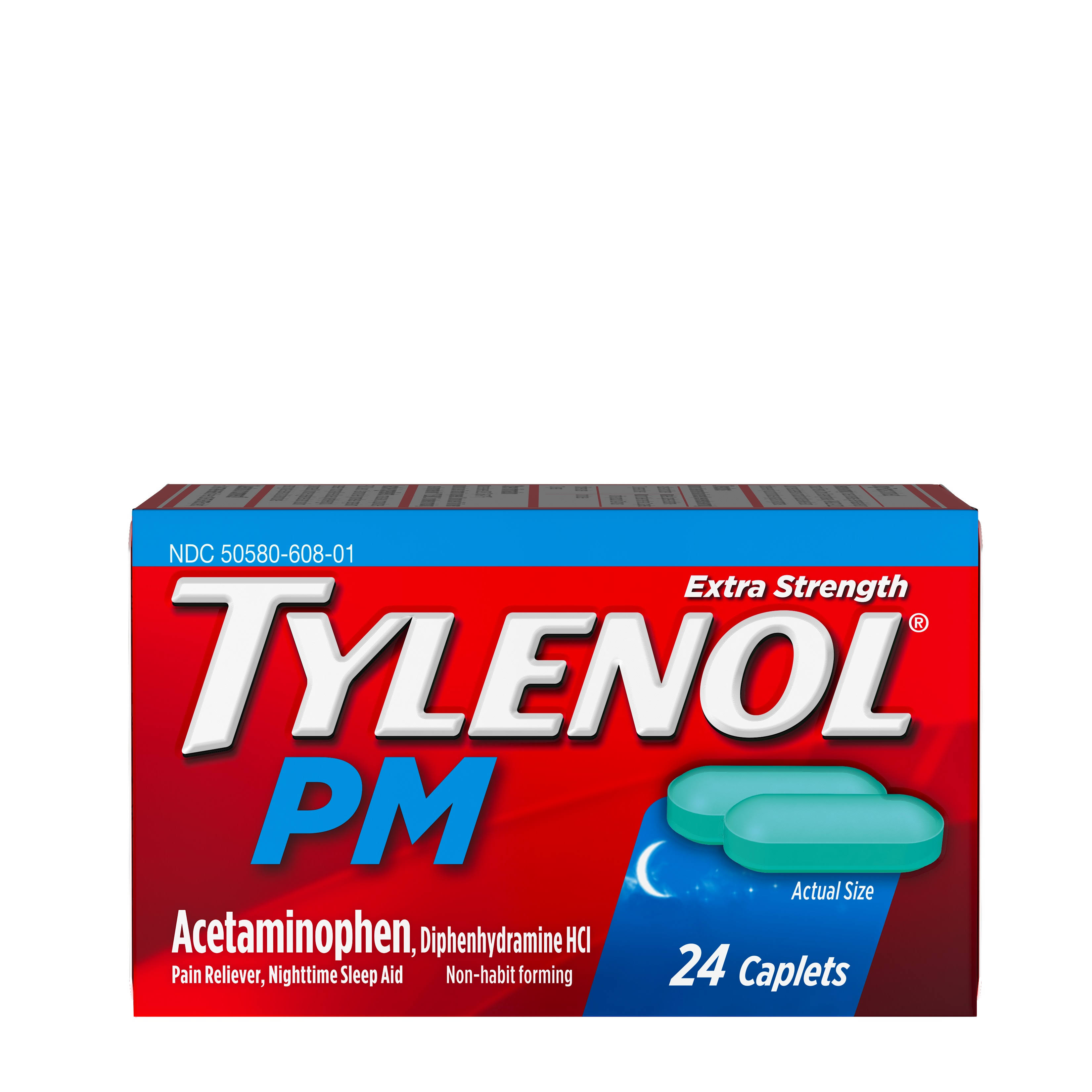 Tylenol PM Extra Strength Pain Reliever/Nighttime Sleep Aid - 24 Caplets