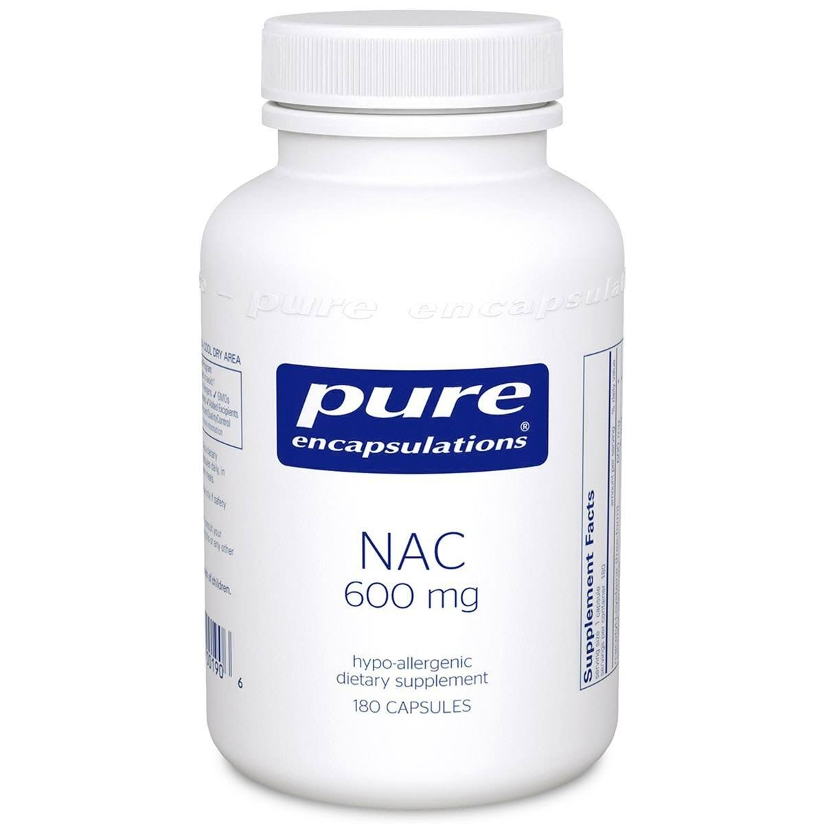 Pure Encapsulations Nac Dietary Supplement - 600mg, 180ct