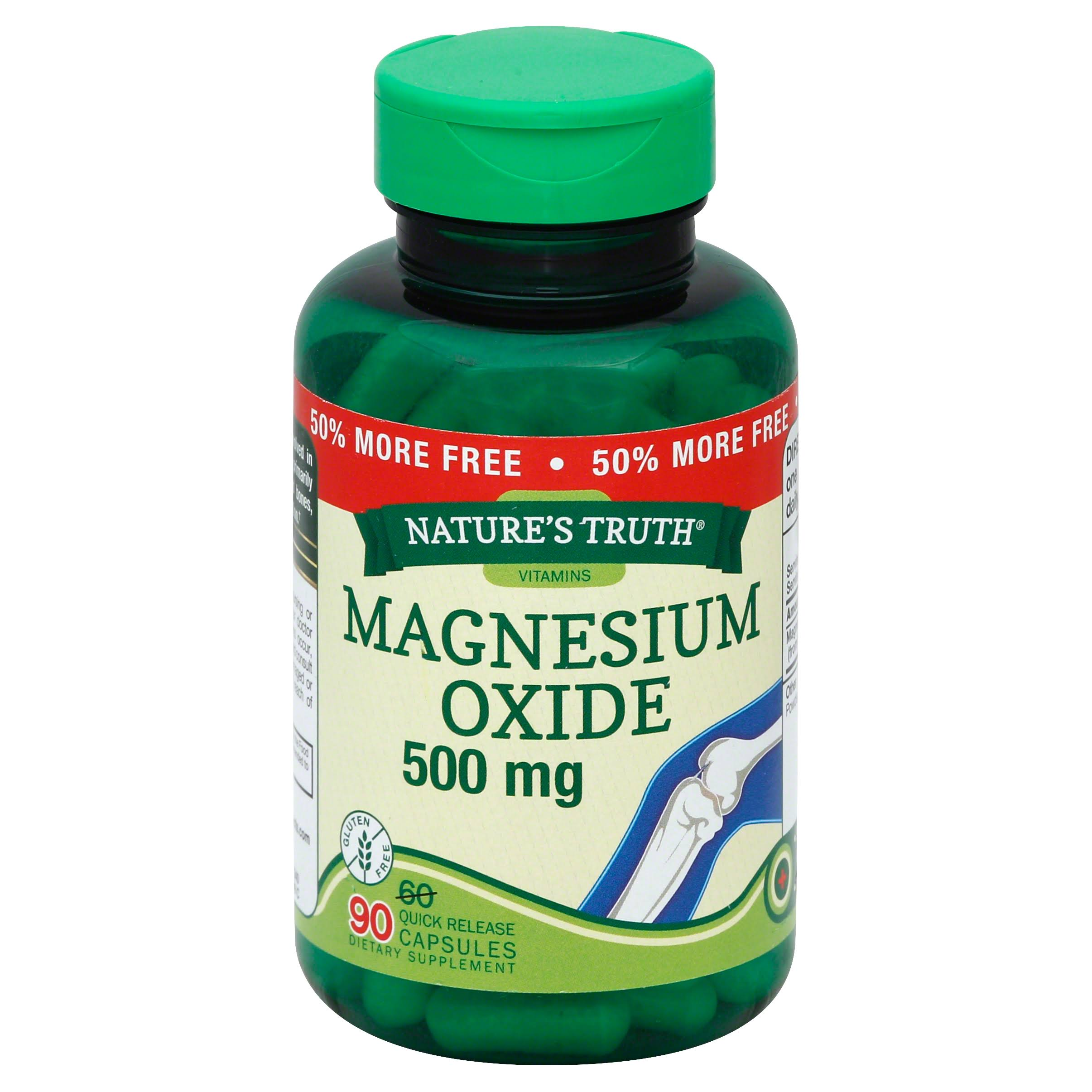 Nature's Truth Magnesium Oxide Supplement - 500mg, 90 Capsules