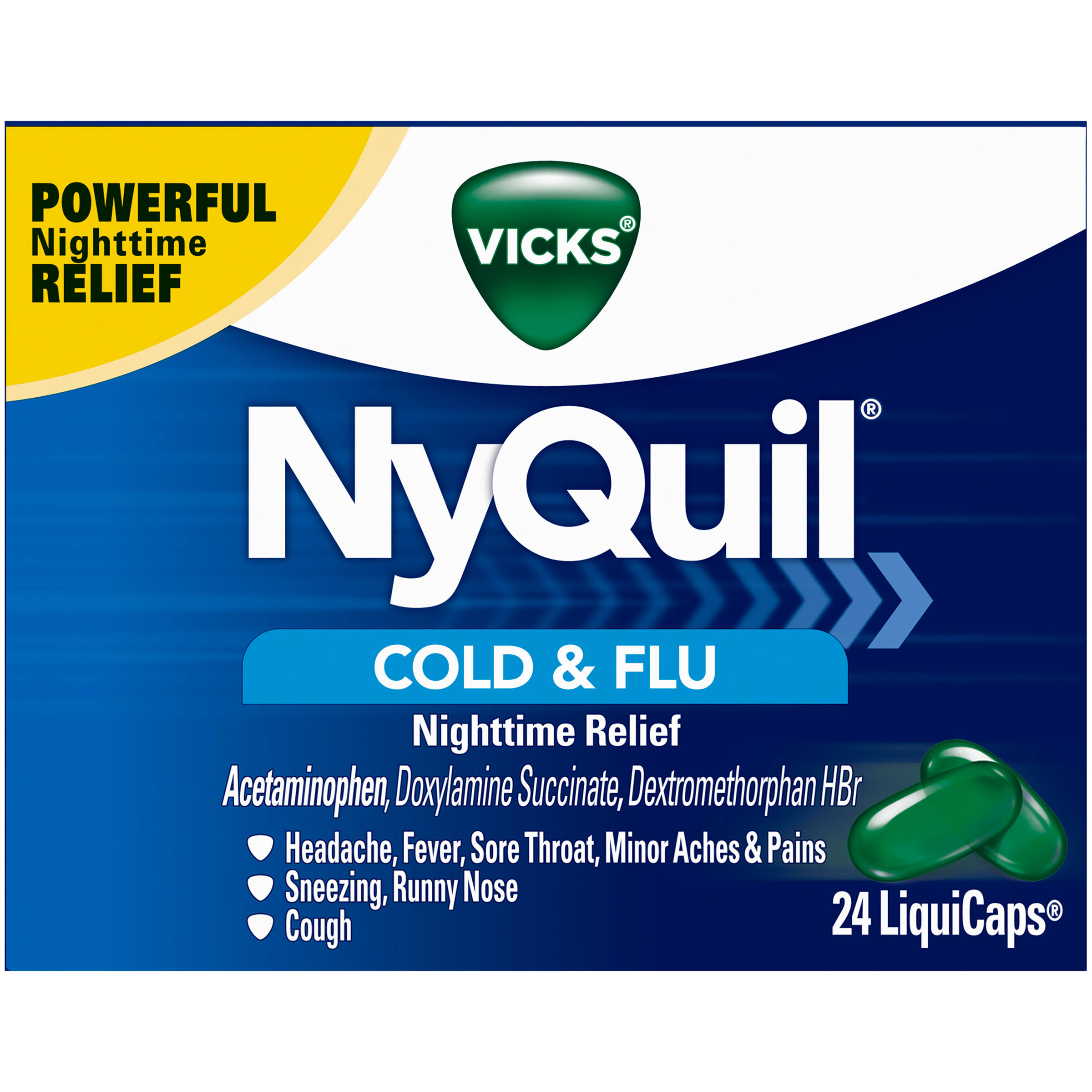 Vicks NyQuil Cold & Flu Nighttime Relief - 24 LiquiCaps