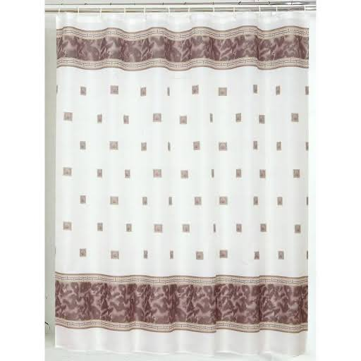 Carnation Home Fashions Windsor Fabric Shower Curtain Brown