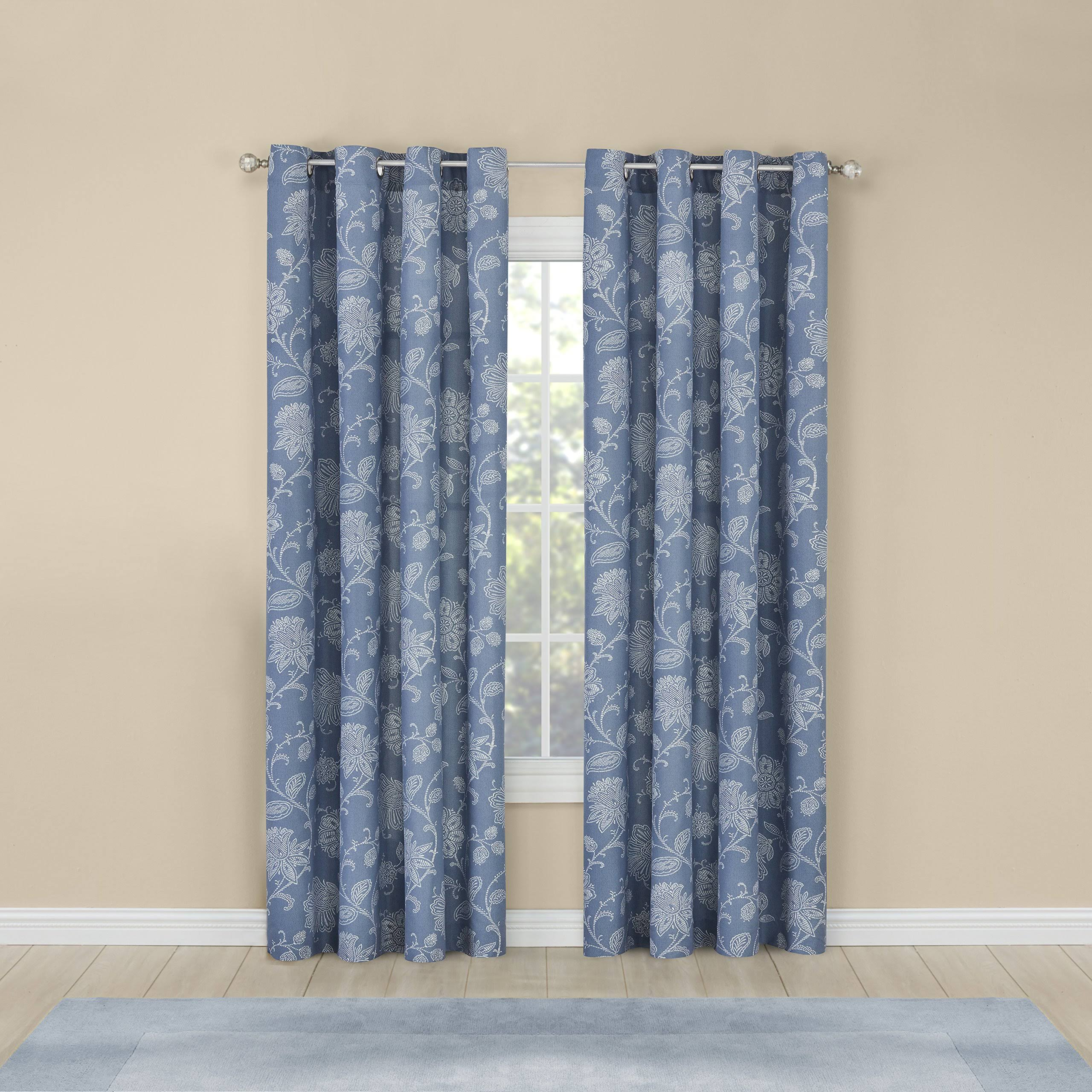 Belle Maison Felicity Printed Grommet Panel, Size: 52 inch x 84 inch, Blue