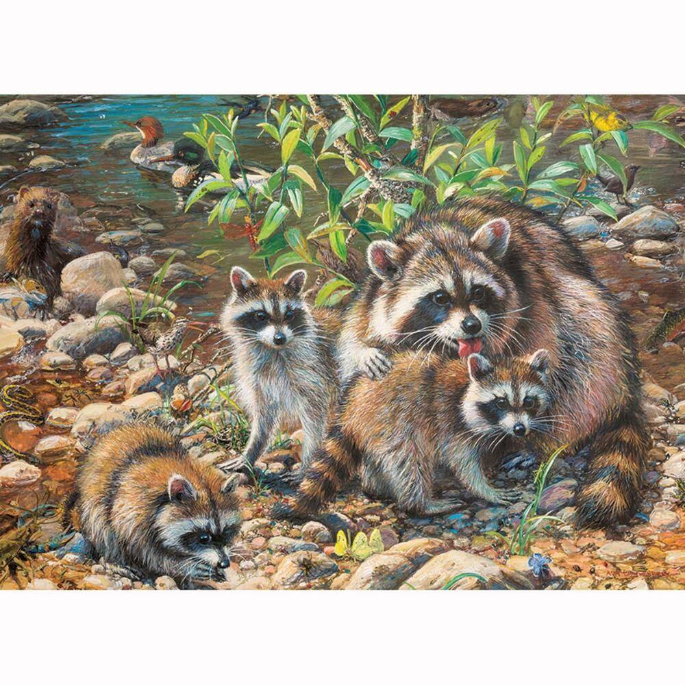 Cobble Hill Jigsaw Puzzle - Raccoon Family, 350 Piece