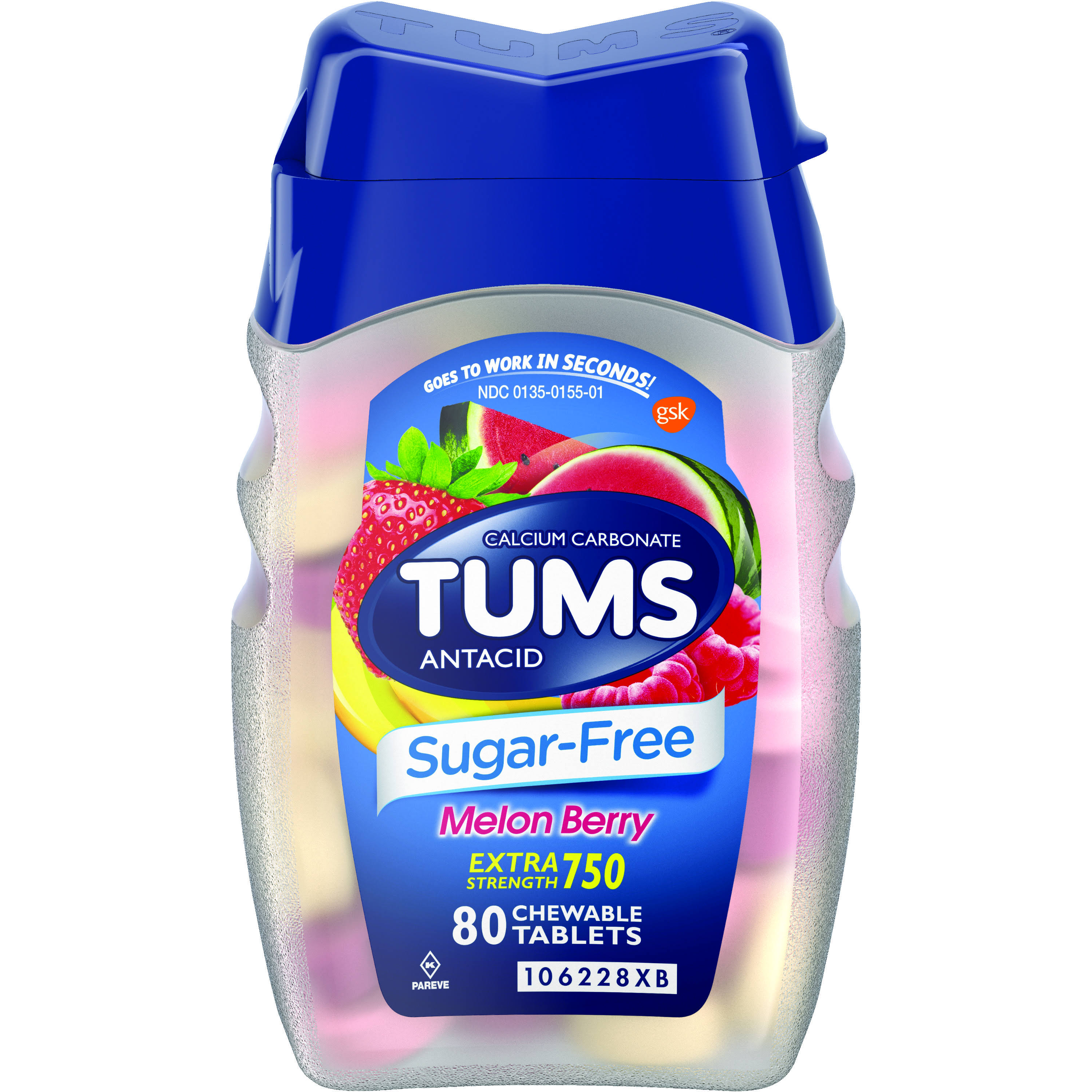 Tums Sugar-Free Heartburn Relief Antacid, Tablets, Melon Berry - 80 count
