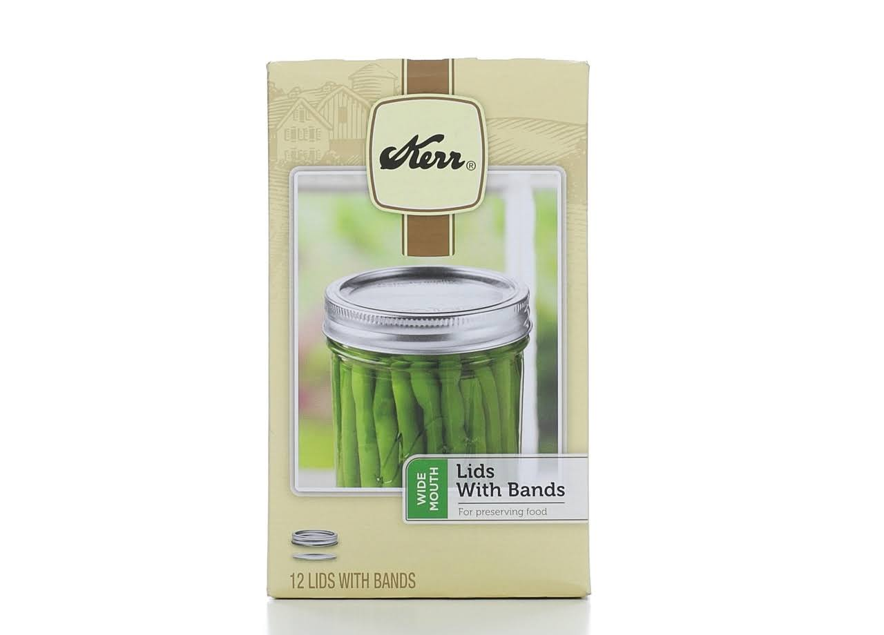 Kerr Wide Mouth Lids Canning Jar - with Bands, 12pk