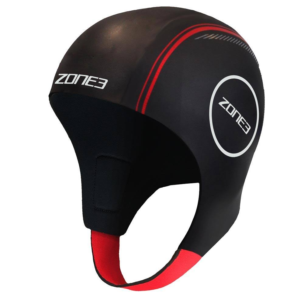 Zone3 Neoprene Swim Cap - Black/Red/White, Medium