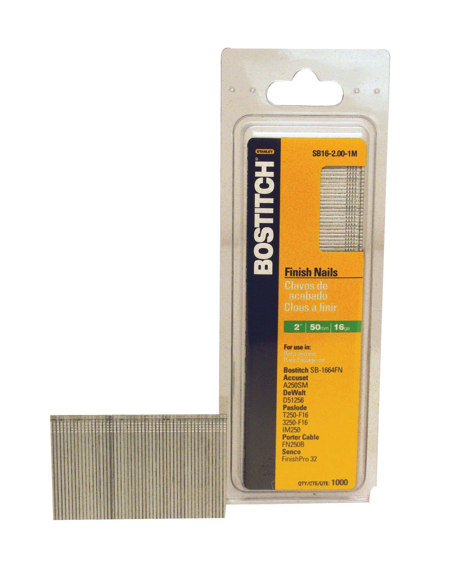 "Bostitch Nail Power Fastening - 2"" x 16 Gauge, Bright Finish"