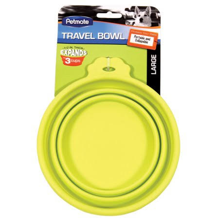 Petmate Silicone Round 3-Cup Travel Bowl for Pets - Go-Go Green