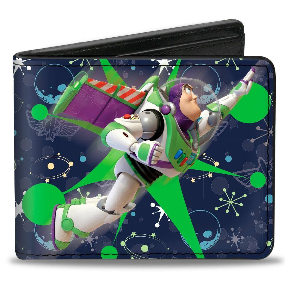Buckle-Down Bi-Fold Wallet - Toy Story Buzz Lightyear Flight Pose + Space Ranger Logo Icons Blues Greens