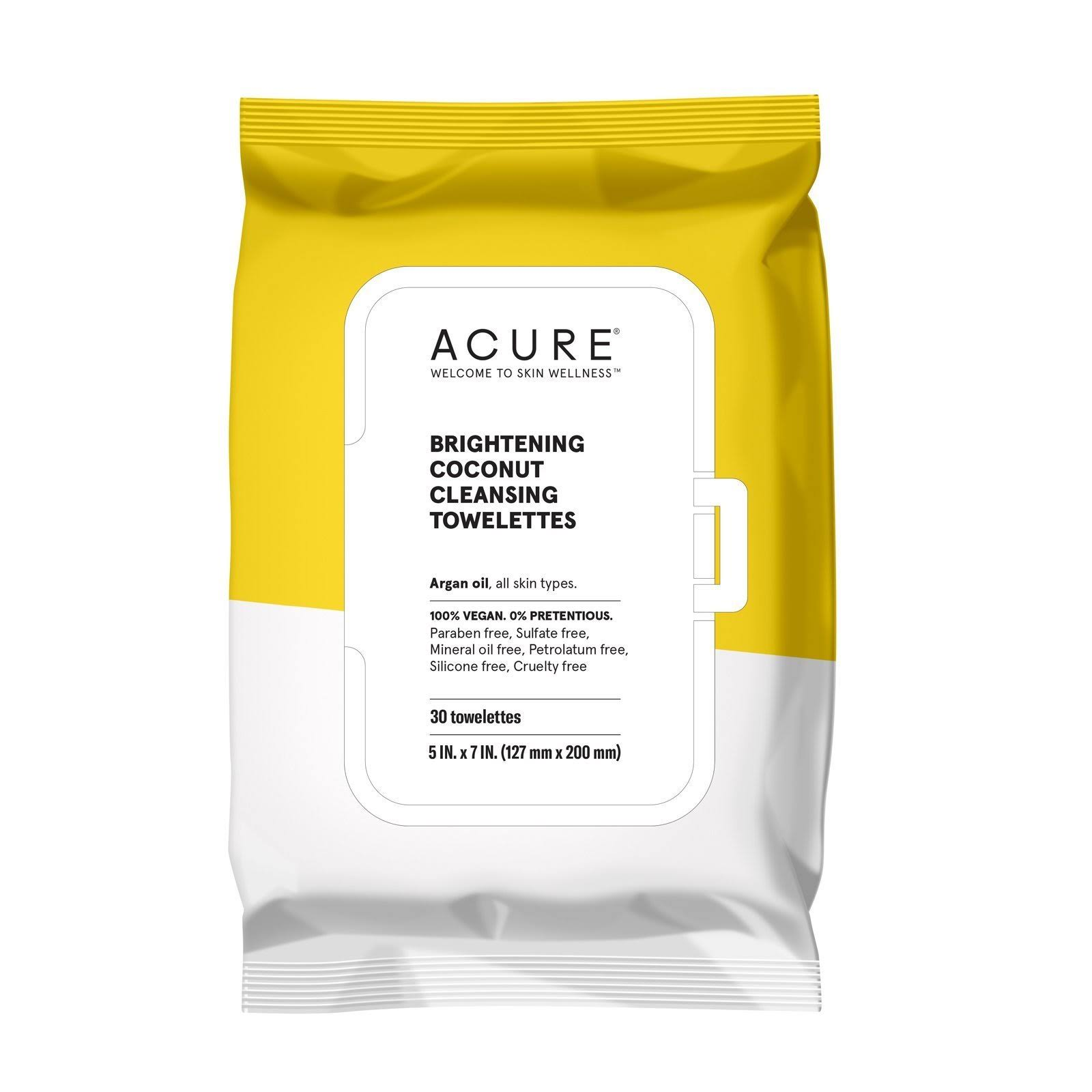 Acure Cleansing Towelettes - Coconut + Argan Oil, x30