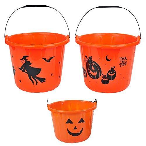 Halloween House Printed Trick-Or-Treat Bucket in Assorted Colors and Designs