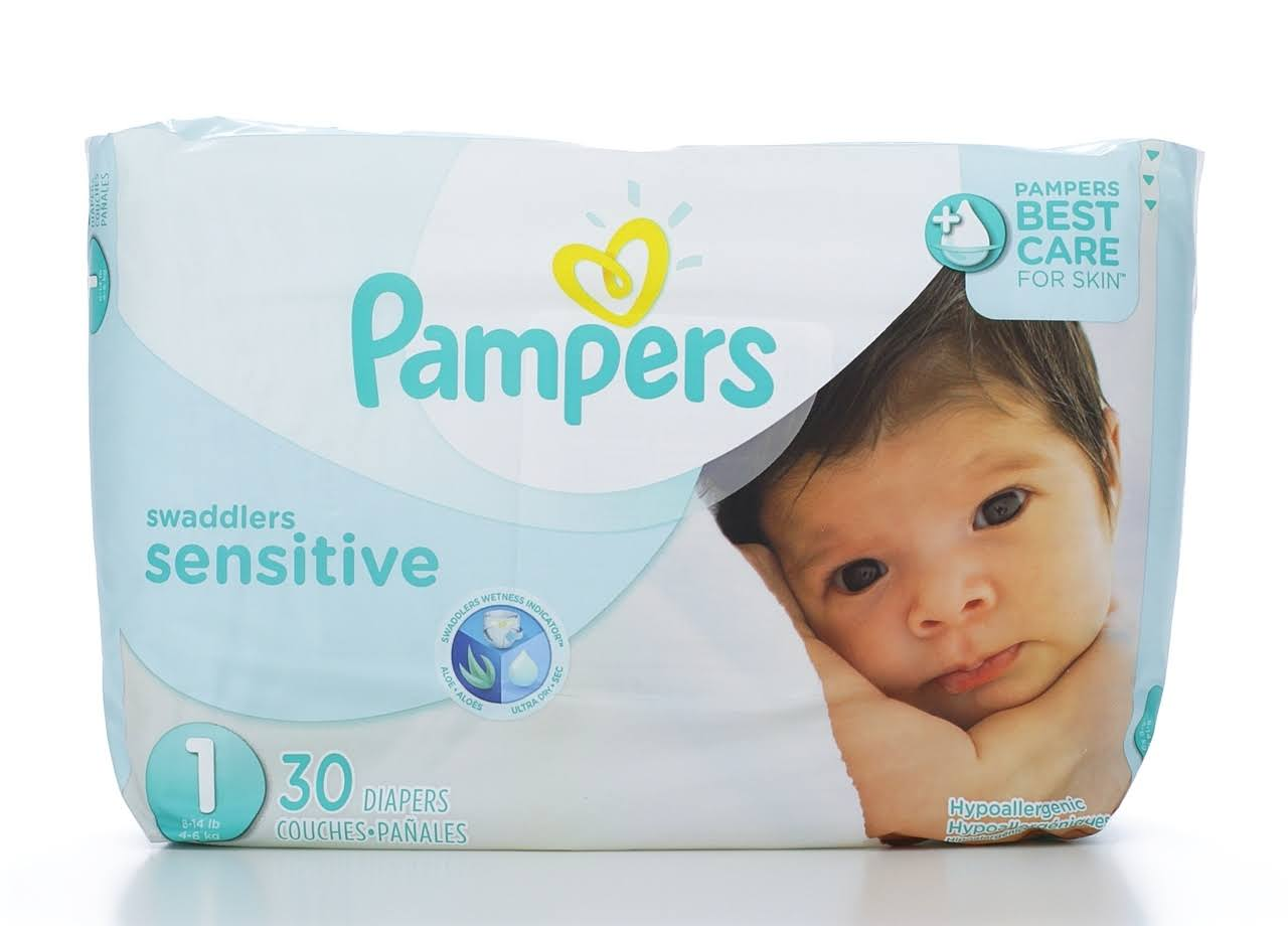 Pampers Swaddlers Sensitive Disposable Diapers - Newborn Size 1, Jumbo, 30pcs
