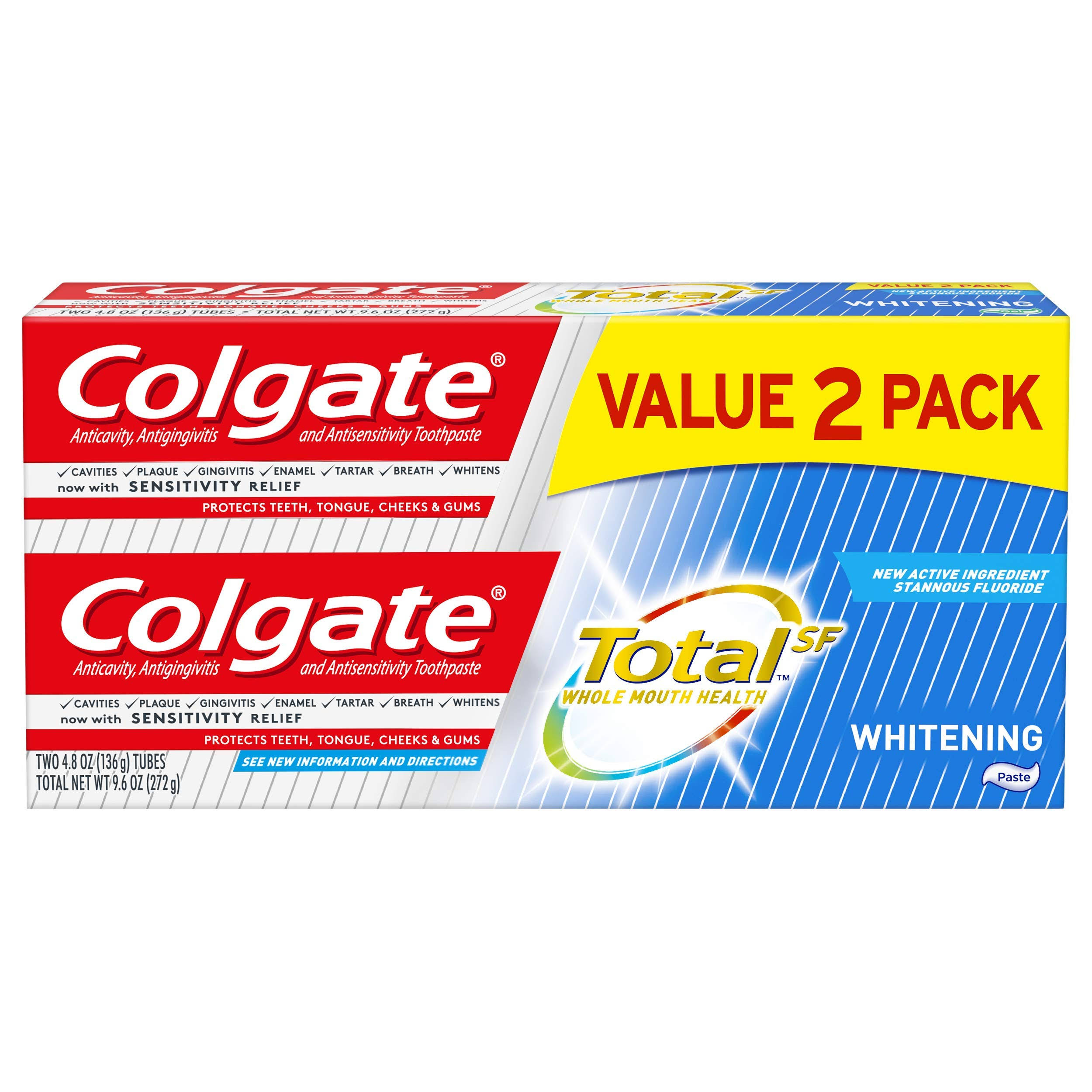 Colgate Total SF Toothpaste, Anticavity, Antigingivitis and Antisensitivity, Whitening, Value 2 Pack - two – 4.8 oz (136 g) tubes [9.6 oz (272 g)]