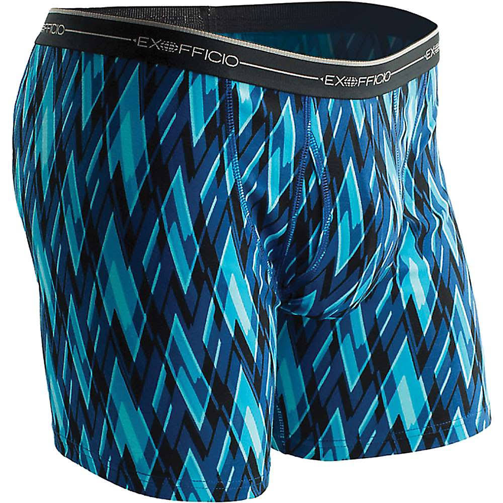ExOfficio Men's Sol Cool Boxer Brief - Medium - Atlantic / Modern Argyle